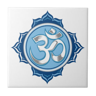 Blue Lotus Om Small Square Tile