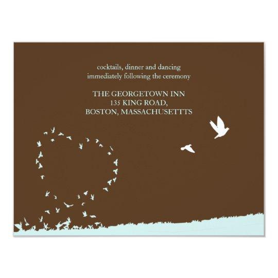 Blue love bird reception card