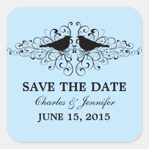 Blue Love Bird Swirls Save the Date Stickers