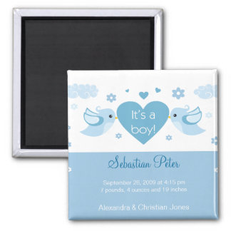 Blue Love Birds Baby Birth Announcement Square Magnet