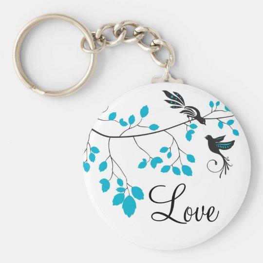 Blue Love Birds Basic Round Button Key Ring