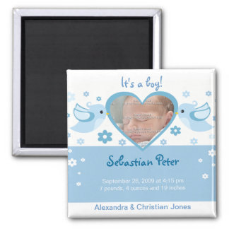 Blue Love Birds Photo Baby Birth Announcement Square Magnet