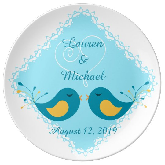 Blue Love Birds Wedding Keepsake Plate