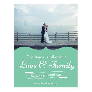Blue Love & Family Photo Christmas Postcard