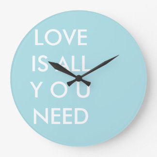 Blue Love is All You Need Custom White Text Wall Clocks