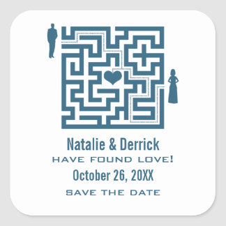 Blue Love Maze Save the Date Stickers