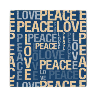 Blue Love Peace Typography Maple Wood Coaster
