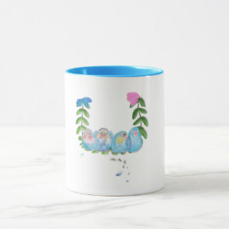 Blue lovebirds, mug by ORDesigns