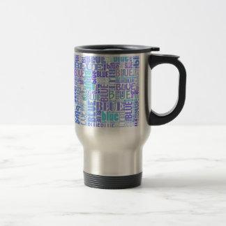 Blue lovers typo travel mug