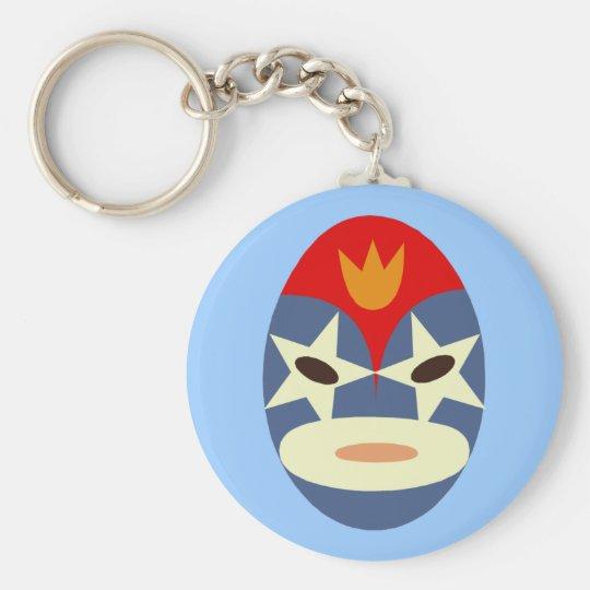 Blue Lucha Libre Mask Basic Round Button Key Ring