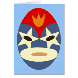 Blue Lucha Libre Mask Greeting Card