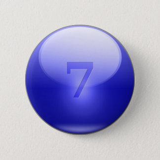 Blue Lucky 7 6 Cm Round Badge