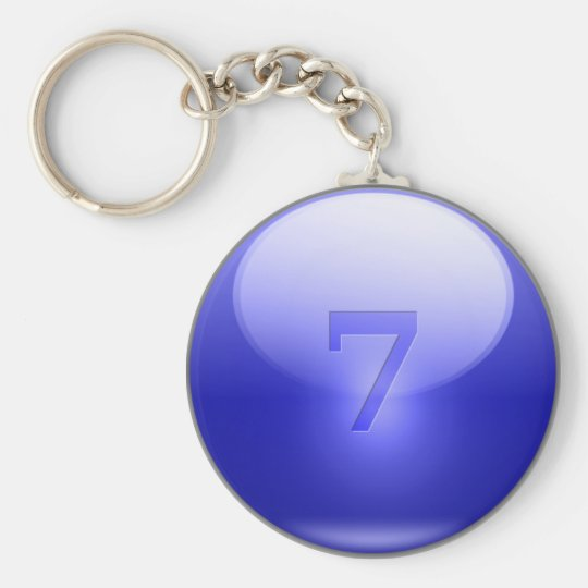 Blue Lucky 7 Basic Round Button Key Ring