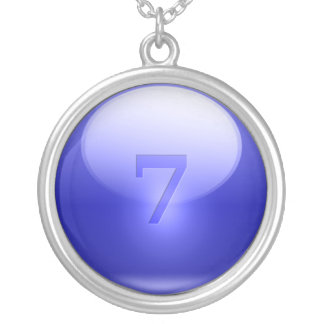 Blue Lucky 7 Round Pendant Necklace