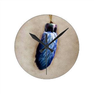 Blue Lucky Rabbit's Foot Round Clock