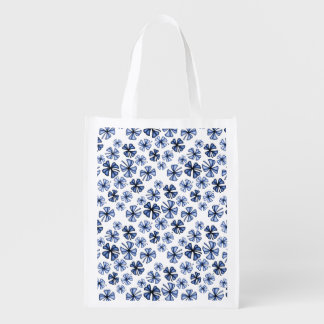 Blue Lucky Shamrock Clover Reusable Grocery Bag