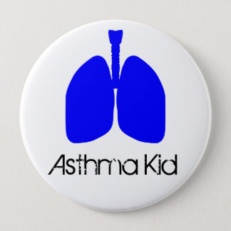 Blue Lungs Asthma Kid Button