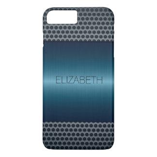 Blue Luxury Stainless Steel Metal Look iPhone 7 Plus Case