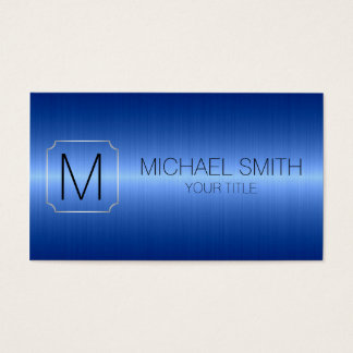 Blue Luxury Stainless Steel Metal Monogram Business Card