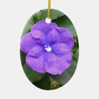 Blue Macro Flower Christmas Ornaments