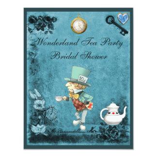 Blue Mad Hatter Wonderland Tea Party Bridal Shower 11 Cm X 14 Cm Invitation Card