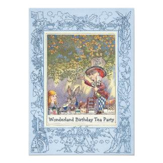 Blue Mad Hatter's Wonderland Birthday Tea Party 13 Cm X 18 Cm Invitation Card