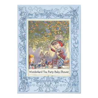 Blue Mad Hatter's Wonderland Tea Party Baby Shower 13 Cm X 18 Cm Invitation Card