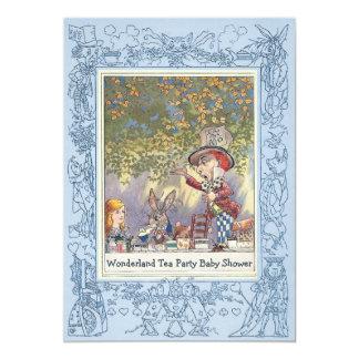 Blue Mad Hatter's Wonderland Tea Party Baby Shower 13 Cm X 18 Cm Invitation Card