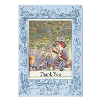 Blue Mad Hatter's Wonderland Tea Party Thank You 9 Cm X 13 Cm Invitation Card