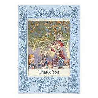 Blue Mad Hatter's Wonderland Tea Party Thank You 9 Cm X 13 Cm Invitation Card