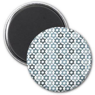 Blue Magen Davids 6 Cm Round Magnet