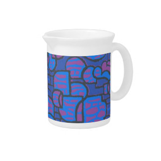 Blue, Magenta Abstract Pitcher or Jug