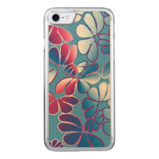 Blue Magenta Whimsical Ikat Floral Doodle Pattern Carved iPhone 8/7 Case