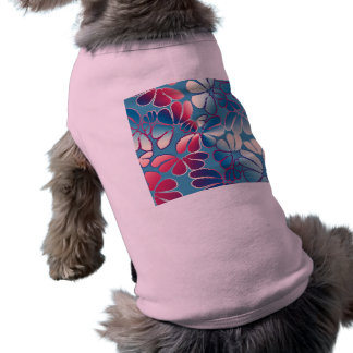 Blue Magenta Whimsical Ikat Floral Doodle Pattern Pet Shirt