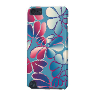 Blue Magenta Whimsical Ikat Floral Doodle Pattern iPod Touch (5th Generation) Covers