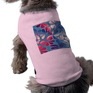 Blue Magenta Whimsical Ikat Floral Doodle Pattern Sleeveless Dog Shirt