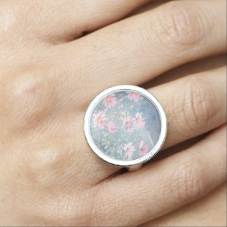 Blue Magical Pink Daisies, Flowers Photograph Photo Rings