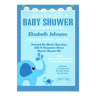 Blue Mama and Baby Elephant Baby Shower Invitation