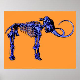 Blue Mammoth Skeleton Print
