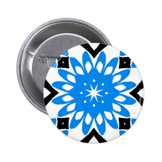 Blue mandala art flower button