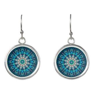 Blue Mandala Drop Earrings