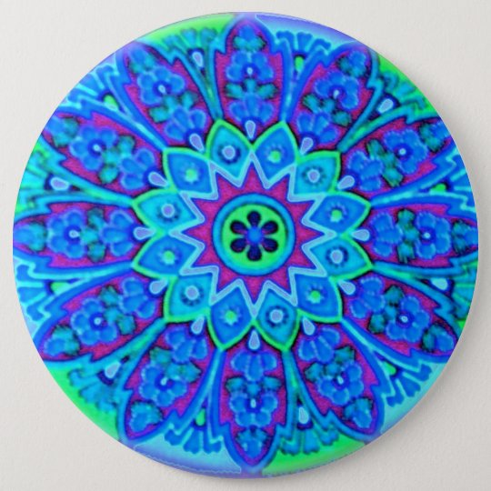 Blue Mandala Fashion Button Pin lrge