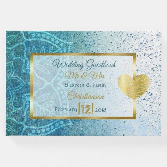 Blue Mandala Gold Heart Wedding Book