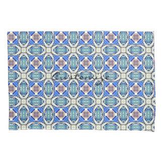 Blue mandala hearts pattern blue pillowcase