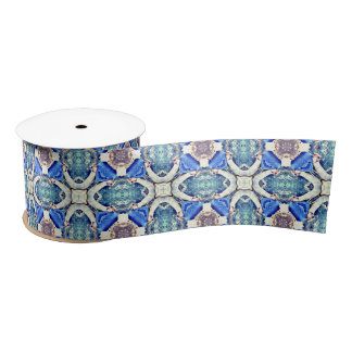 Blue mandala hearts pattern Thunder_Cove Satin Ribbon