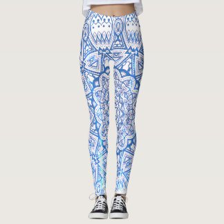 Blue Mandala Lace Pattern Leggings
