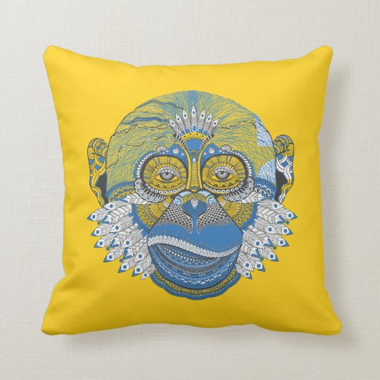 Blue Mandala Monkey Cushion