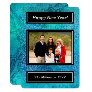 Blue Mandala Snowflakes - Happy New Year Photo Card