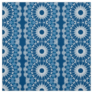 Blue Mandala Stripe Fabric