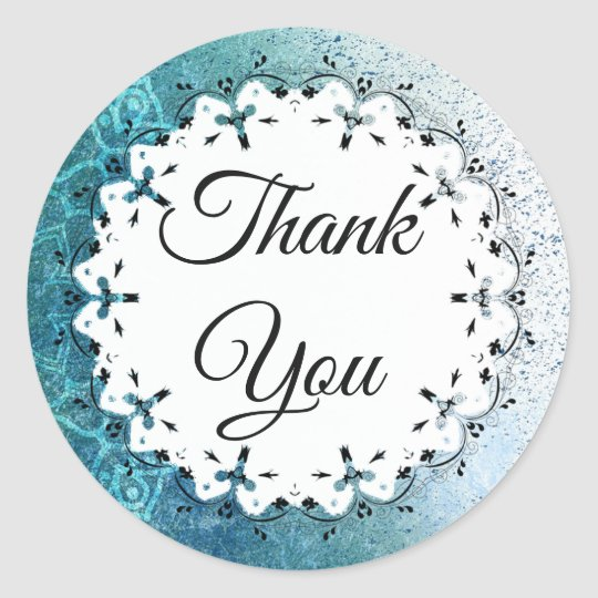 Blue Mandala Thank You Stickers